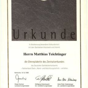 Urkunde Teichtinger Bedachung GmbH